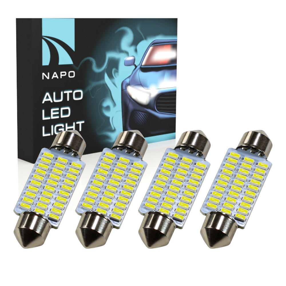 Лампа автомобильная LED SJ-4014-30SMD-39mm комплект 4 шт C5W C10W T11 цвет свечения белый