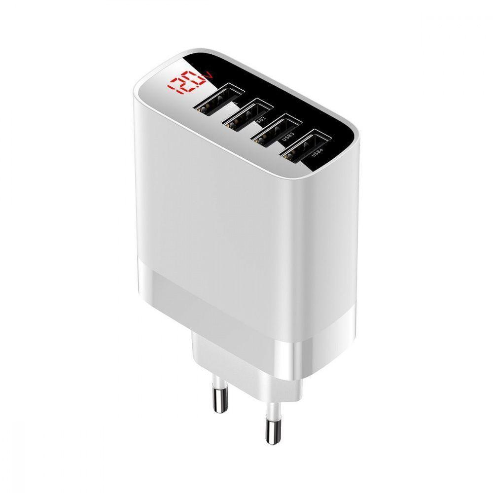 Сетевое зарядное устройство Baseus Mirror Lake Digital Display White 4USB 30W 6A (CCJMHB-B02)