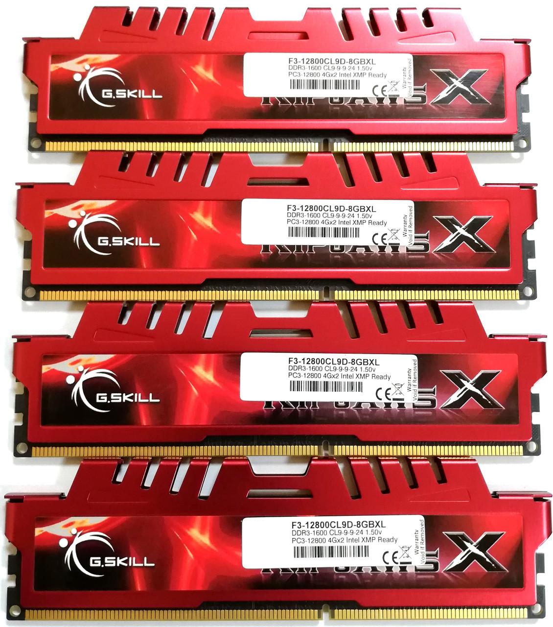 Комплект оперативной памяти G.Skill RipjawsX DDR3 16Gb (4*4Gb) 1600MHz PC3 12800U CL9 (F3-12800CL9D-8GBXL) Б/У