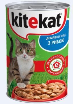 Влажный консервированный корм с Рыбой для взрослых кошек 400 г Kitekat Китикэт