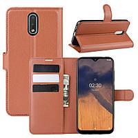 Чехол Luxury для Nokia 2.3 книжка коричневый