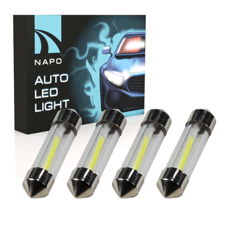 Лампа автомобильная LED SJ-COB-36mm.t11-035 36mm комплект 4 шт C5W C10W T11 цвет свечения белый
