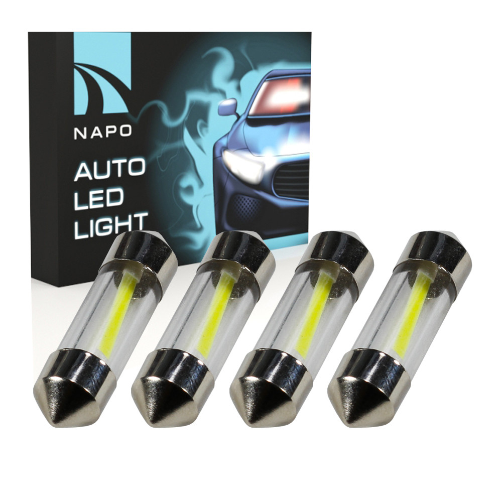 Лампа автомобильная LED SJ-COB-31mm.t11-034 31mm комплект 4 шт C5W C10W T11 цвет свечения белый