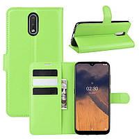 Чехол Luxury для Nokia 2.3 книжка зеленый