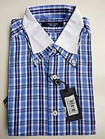 Рубашка мужская в клетку с белым воротником