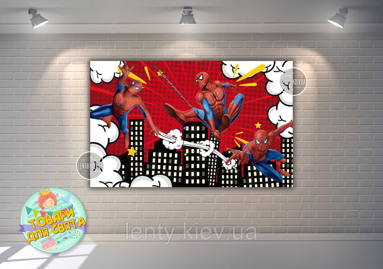 "Плакат для Кенди - бара 120х75 см (Тематический) ""Спайдермен"" (красно-белый) -"