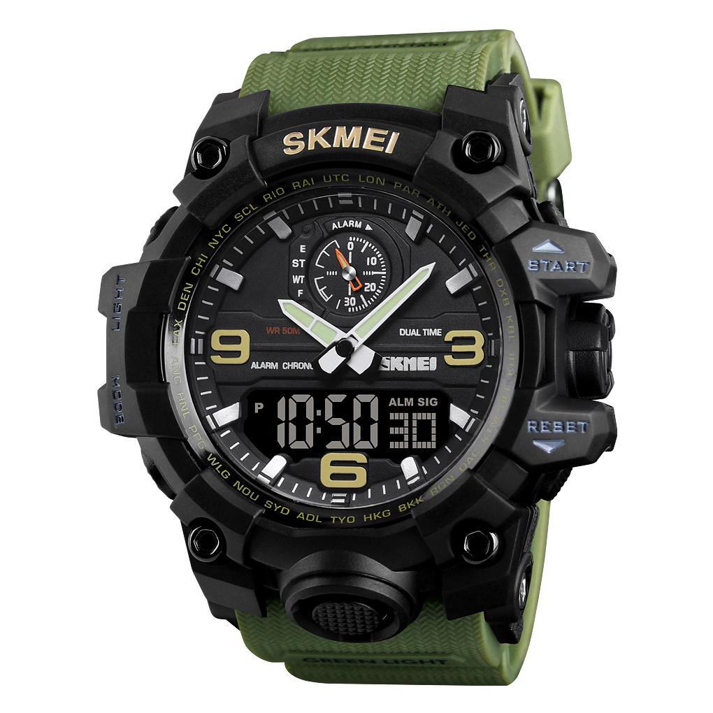 Skmei 1586 зеленые мужские спортивные часы