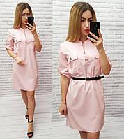 Платье с поясом арт. 198 нежно розовое / пудровое / пудра