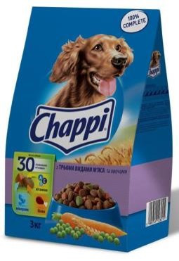 Сухой корм для собак с Говядиной, Птицей, Свининой и овощами 3 кг Chappi Чаппи
