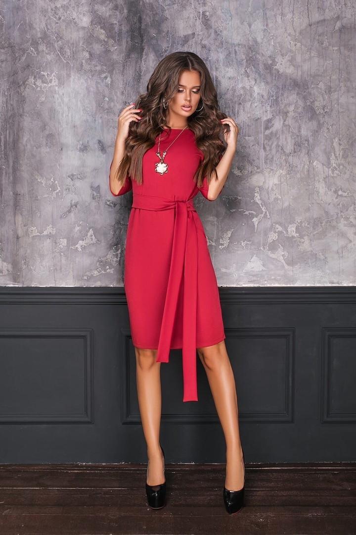 Женское платье с поясом 7058 тер