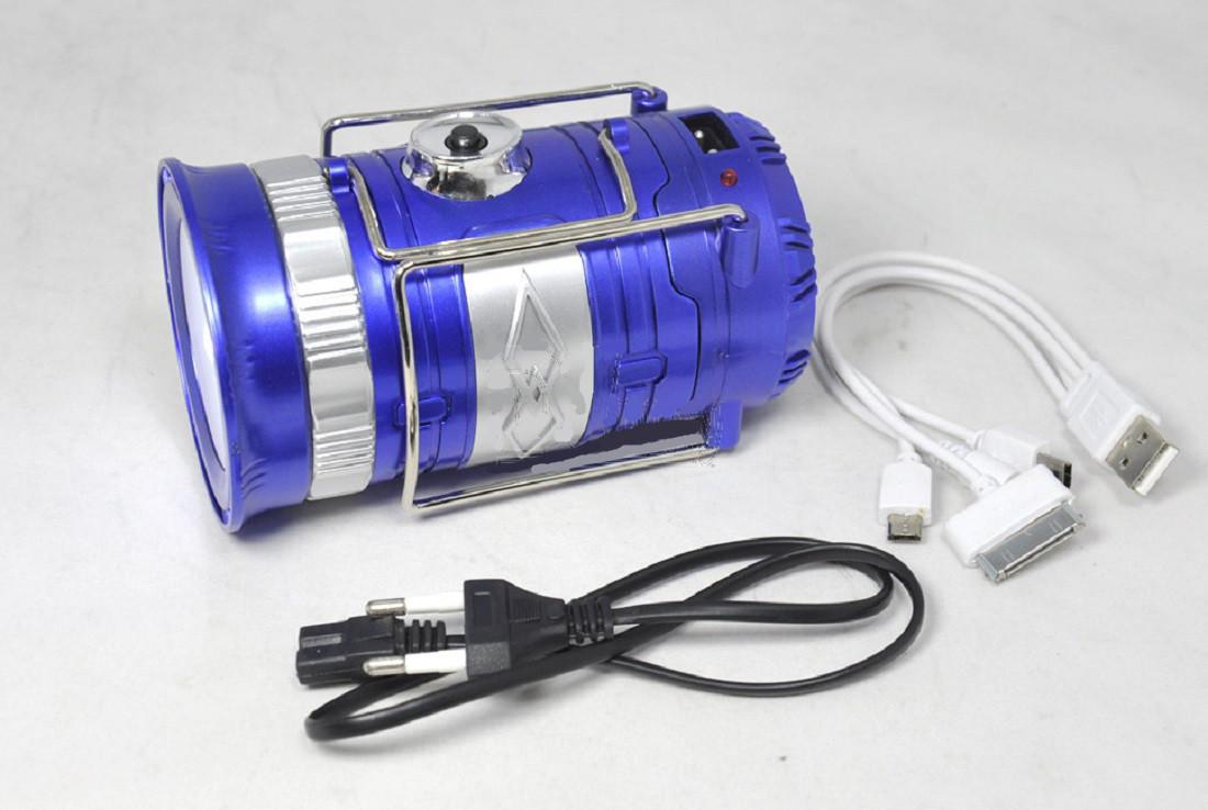 Кемпинговая LED лампа 3589 c фонариком и солнечной панелью Синий (hub_LSHD94700)