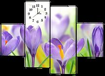 Модульная картина с часами Крокусы на солнце 126*93 см(Код: W432M)