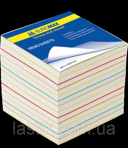 Блок бумаги для записей РАДУГА, JOBMAX, 90х90х70 мм, не склеенный