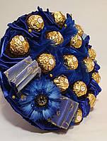 Букет Okl из конфет Васильковый  Ferrero Rocher  Синий 1697 РР