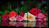 Сегментная картина Разноцветные розы 133x73 см Код: W478M