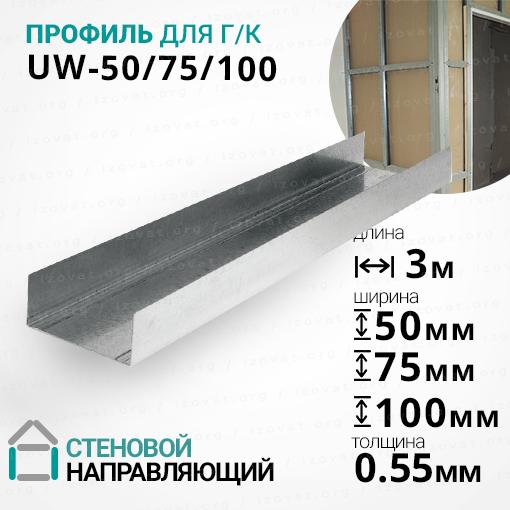 Профиль UW (УВ) ГОСТ, 3 метра. Стеновой, направляющий. Толщина металла - 0,55мм