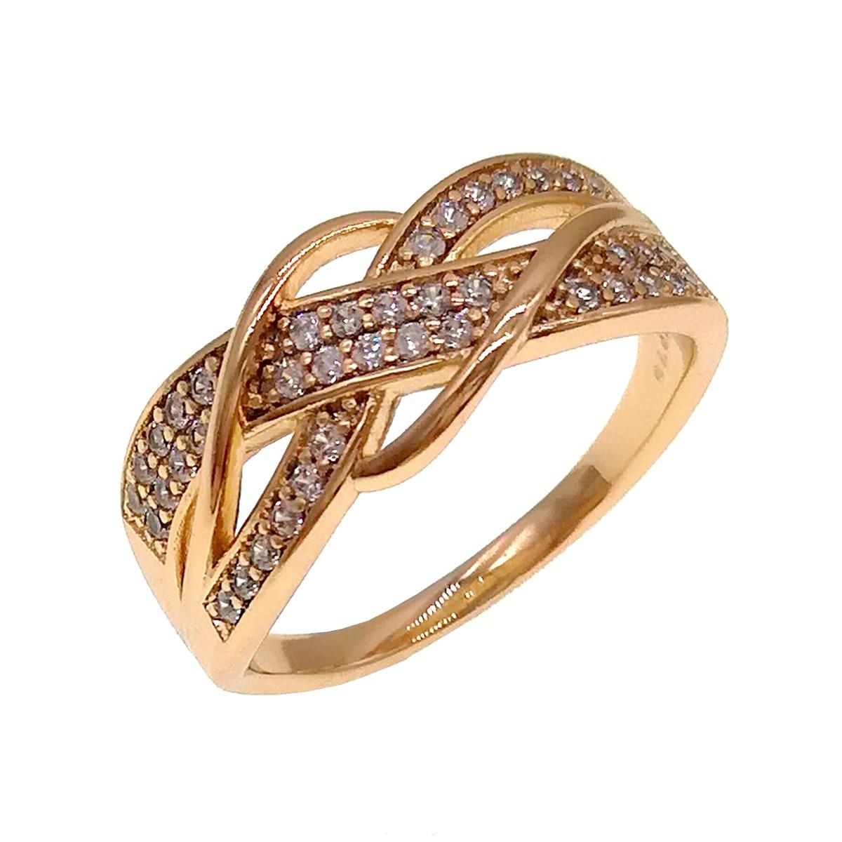 Кольцо Xuping из медицинского золота, белые фианиты, позолота 18K, 11879                         (17)