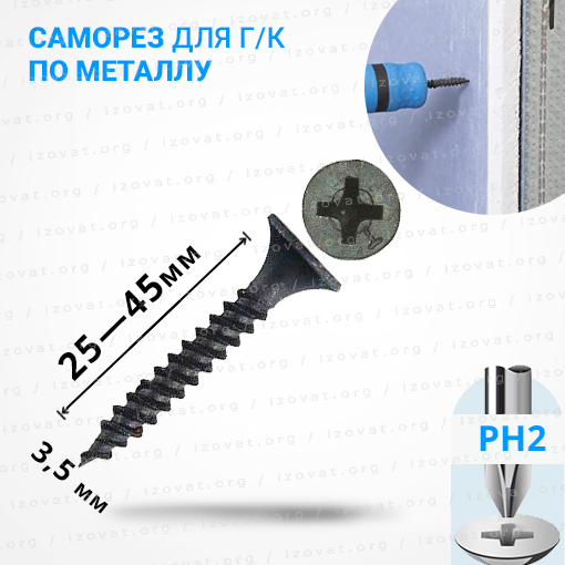 Саморезы (шурупы) по металлу для гипсокартона PH2
