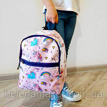 Легкий детский тканевый рюкзак Единороги и радуги