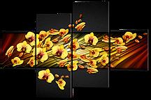 Модульная картина Желтые орхидеи 126*85 см  Код: W311M