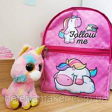 Тканевый рюкзак для девочки розового цвета Единорог