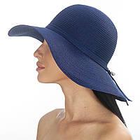 Стильная женская шляпа летняя Del Mare синяя 179-05