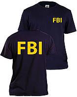 Темно синяя футболка в стиле FBI   желтое лого