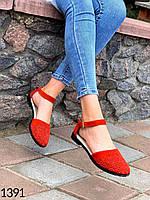 Женские балетки красные натуральный замш,сандали женские 41 размер стелька 26 см