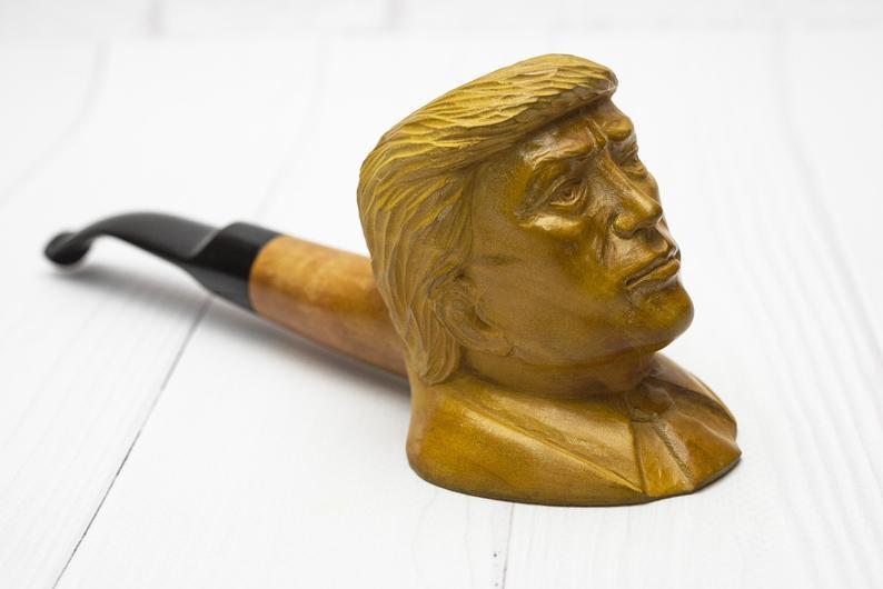 Трубка для курения из дерева груши Дональд Трамп с мундштуком под фильтр 9мм