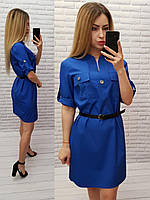 Платье с поясом арт. 198 ярко синее / ярко синего цвета / электрик, фото 1