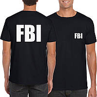 Черная футболка в стиле FBI   white logo