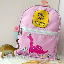 Розовый тканевый рюкзак для девочки Дино