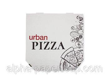 Коробка для пиццы белая с лого URBAN 300*300*39, 100 шт/уп, 30 уп/палет.