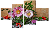 Модульная картина Натюрморт с цветами и ягодами 121x69 см  Код: W574M