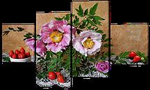 Модульна картина Натюрморт з квітами та ягодами 121x69 см Код: W574M