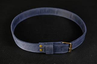 Ремень детский, Винтажная кожа, цвет Синий, фото 3