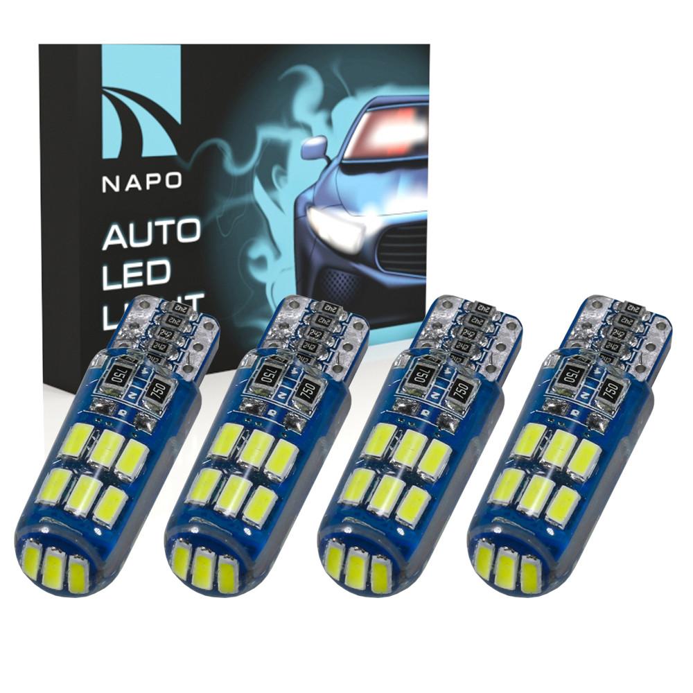 Лампа автомобильная LED T10-3014-15smd-Can.t10-066 W5W T10 комплект 4 шт цвет свечения белый