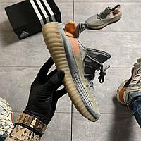 Женские кроссовки Adidas Yeezy Boost 350 V2 Gray Orange, Женские Адидас Изи Буст В2 Серые