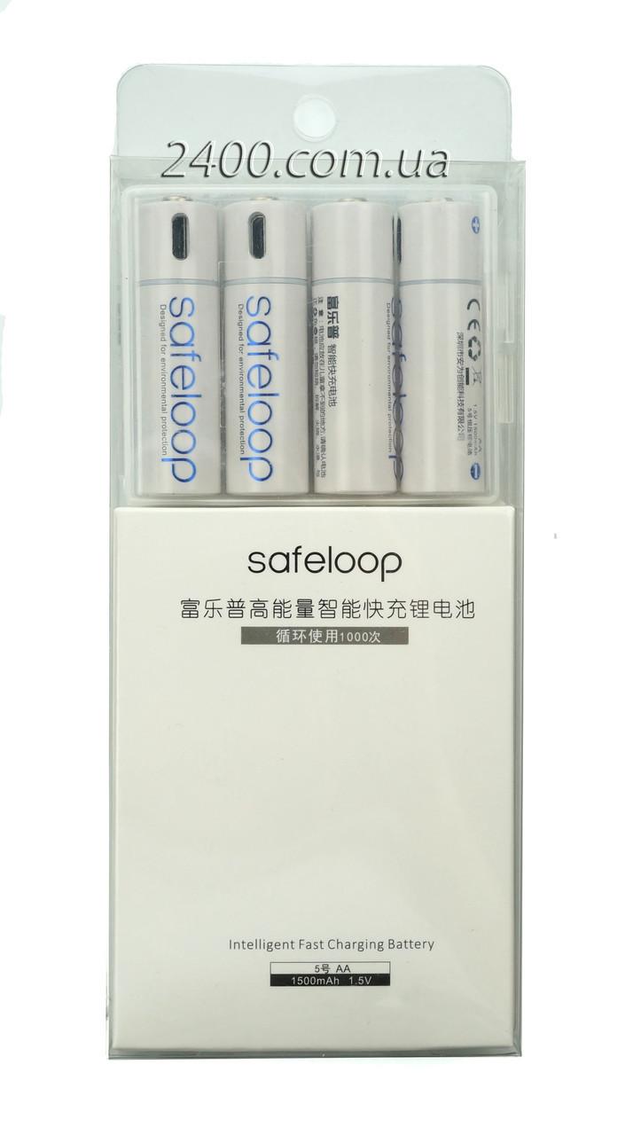 Пальчикові батарейки АА 1250 маг 1.5 V Li-Ion micro USB - комплект 4 шт (шнур зарядки) Safeloop