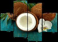 Модульная картина Кокосы и орхидея 126*93 см Код: W513M