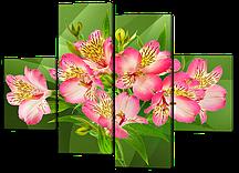 Модульная картина цветы Альстромерии розовые 126*93 см  Код: W537M