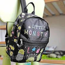 Черный тканевый рюкзак Маленький монстр