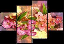 Модульна картина на штучній шкірі Ніжні орхідеї 160*114 см Код: 539.4 160 к.