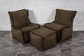 Коричневый Набор мягкой бескаркасной мебели на змейке диван кресло мешок