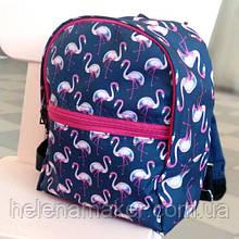 Детский синий рюкзак с розовыми фламинго