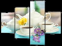 Модульная картина Чайный сервиз с цветами 126*94 см Код: W542M