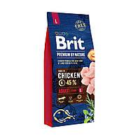 Сухой корм Brit Premium Adult L для взрослых собак крупных пород со вкусом курицы 15 кг (НФ-00000121)