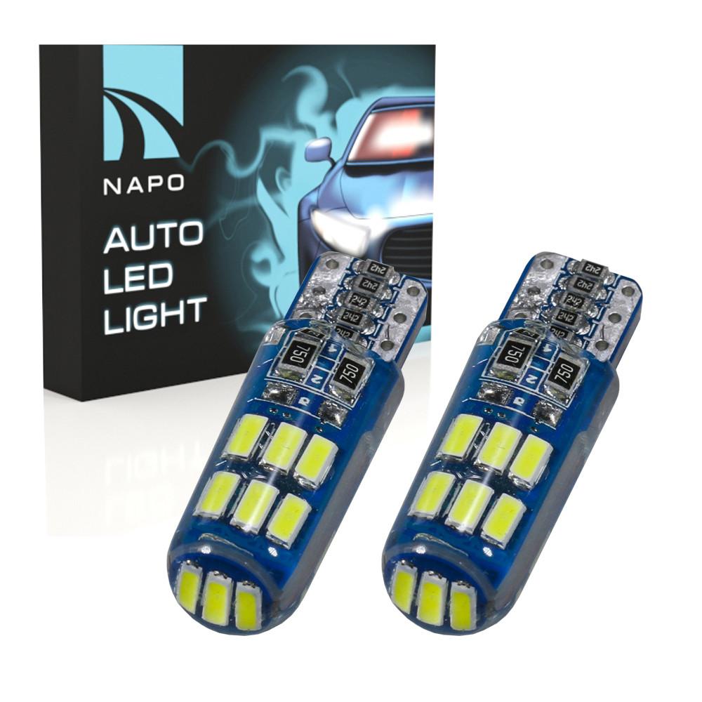 Лампа автомобильная LED T10-3014-15smd-Can.t10-066 W5W T10 комплект 2 шт цвет свечения белый