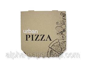 Коробка для пиццы бурая с лого URBAN 300*300*39, 100 шт/уп, 30 уп/палет.