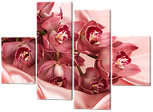 Модульная картина Орхидеи на шёлке 126*93 см Код: W489M